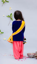 Load image into Gallery viewer, Girls Blue Velvet Kurti With Salwar