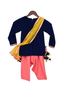 Girls Blue Velvet Kurti With Salwar