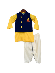 Boys Blue Velvet Nehru Jacket Set