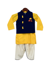 Load image into Gallery viewer, Boys Blue Velvet Nehru Jacket Set