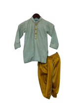 Load image into Gallery viewer, Boys Blue Zig Zag Gota Kurta & Yellow Dhoti