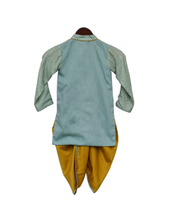 Boys Blue Zig Zag Gota Kurta & Yellow Dhoti