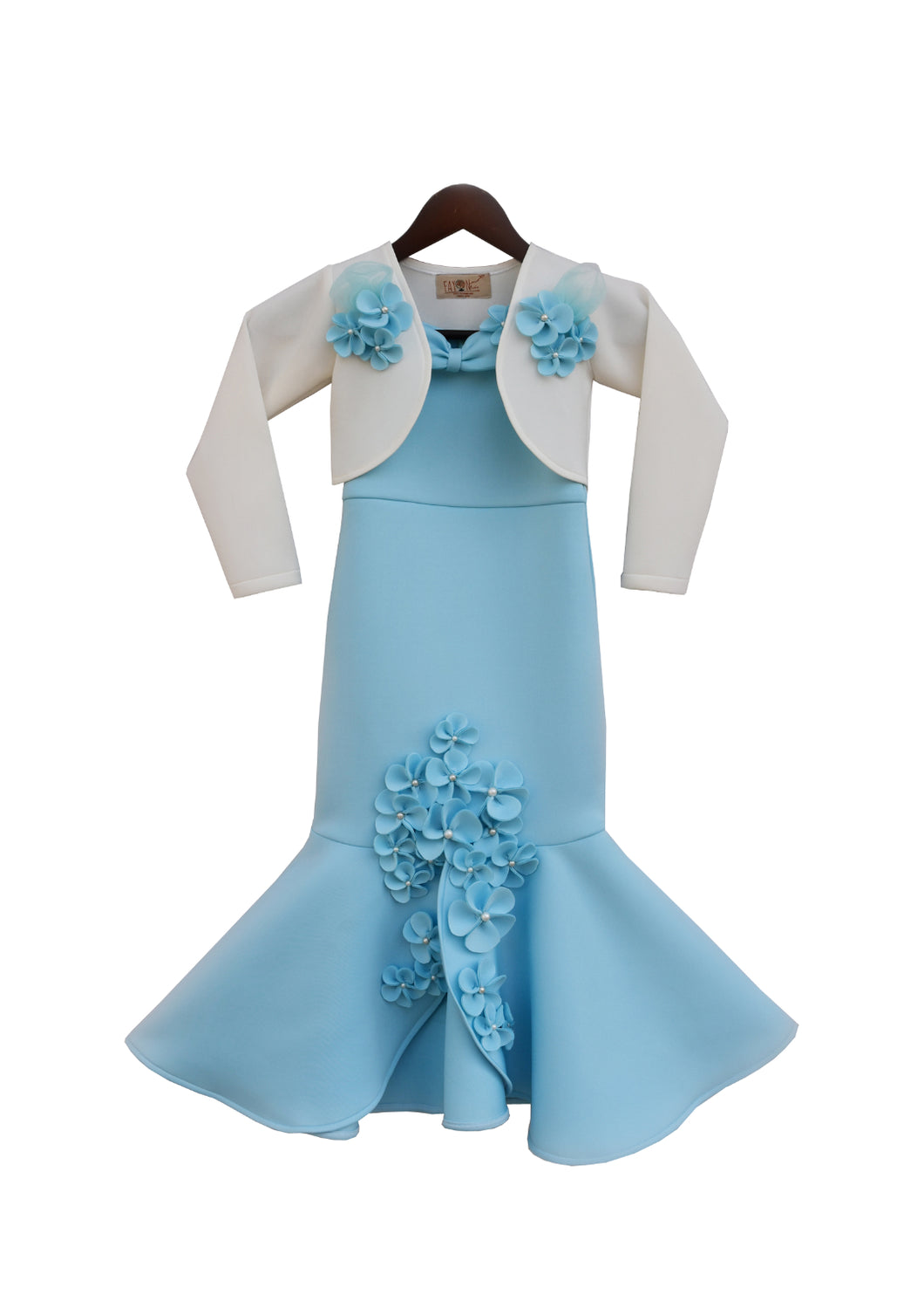Girls Blue Neoprene Fish Cut Dress With Jacket
