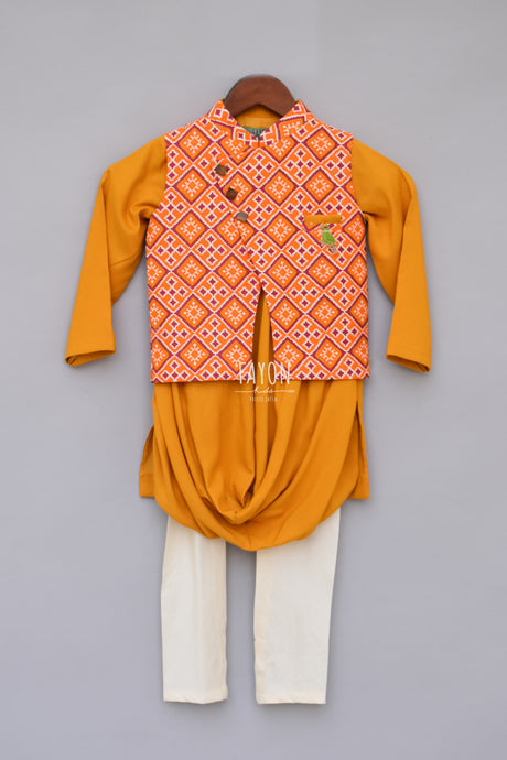 Boys Printed Nehru Jacket