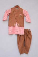 Load image into Gallery viewer, Boys Brown Nehru Jacket With Printed Kurta And Churidar