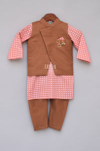 Boys Brown Nehru Jacket With Printed Kurta And Churidar