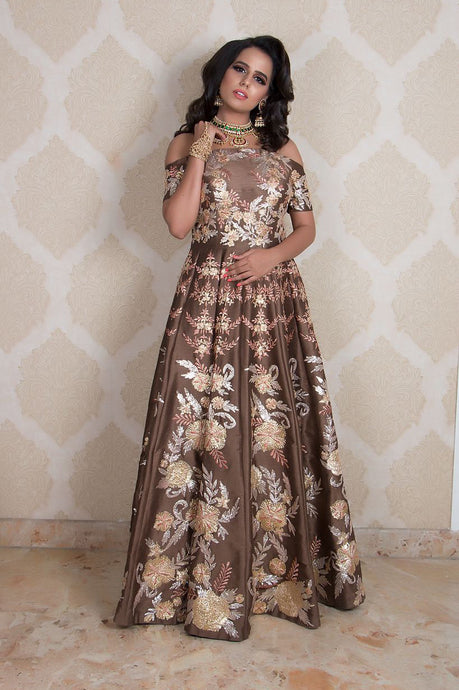 Brown Off Shoulder Gown With Gota And Zari Work