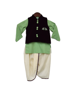 Boys Burgandi Velvet Nehru Jacket Set