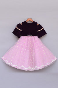 Girls Burgandi Velvet Top With Pink Net Lehenga