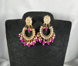 Lightweight Kundan Polki Chandbalis With Bead Drops