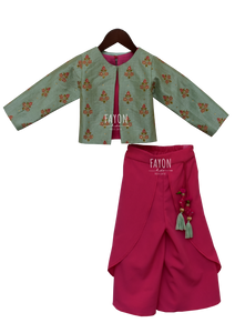 Girls Candy Pink Crop Top Dhoti With Embroidery Jacket