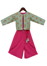 Load image into Gallery viewer, Girls Candy Pink Crop Top Dhoti With Embroidery Jacket