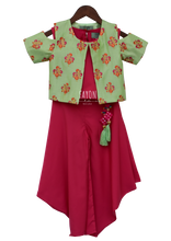 Load image into Gallery viewer, Girls Candy Pink Crop Top Dhoti With Green Embroidery Jacket