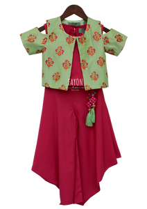 Girls Candy Pink Crop Top Dhoti With Green Embroidery Jacket