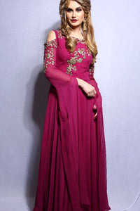 Cold Shoulder Long Sleeve Gown With Handwork