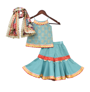 Girls Cotton Foil Printed Kurti With Sharara & Printed Dupatta