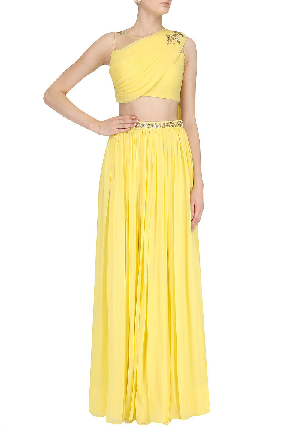 Crop Top Skirt With Drape Dupatta Online in USA
