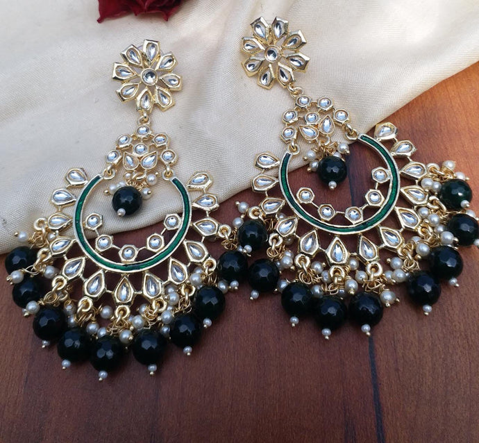 Buy Kundan Emerald Chandbali Indian Party Daisy Earrings: Perfect Panache