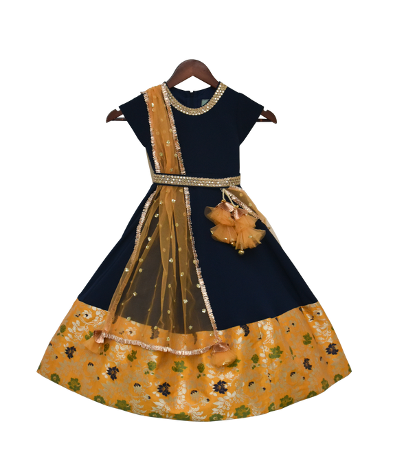 Girls Dark Blue Georgette Anarkali