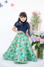 Load image into Gallery viewer, Girls Dark Blue Organza Top With Brocade Lehenga