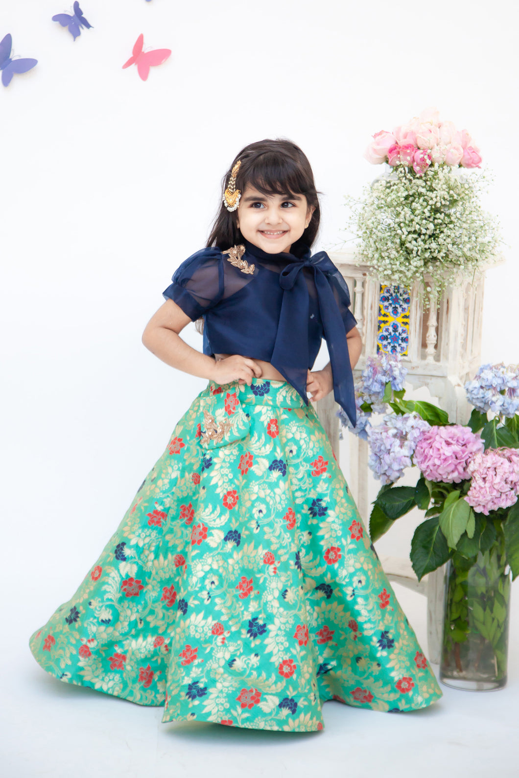 Girls Dark Blue Organza Top With Brocade Lehenga
