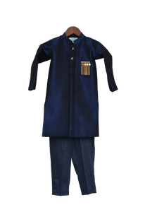 Boys Dark Blue Ajkan With Pant