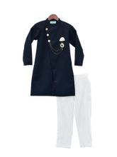 Load image into Gallery viewer, Boys Dark Blue Ajkan With Pant & Stone Broach