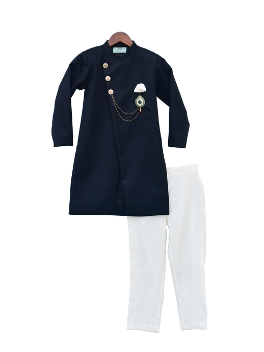 Boys Dark Blue Ajkan With Pant & Stone Broach