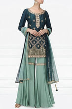 Load image into Gallery viewer, Dark Teal And Light Blue Handwork Garara Set Online in USA