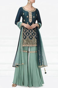 Dark Teal And Light Blue Handwork Garara Set Online in USA