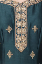 Load image into Gallery viewer, Dark Teal And Light Blue Handwork Garara Set