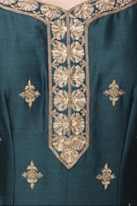Dark Teal And Light Blue Handwork Garara Set