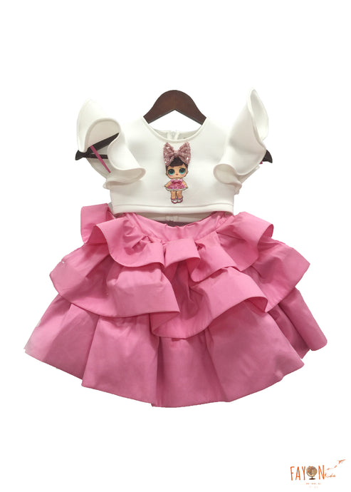 Girls Doll Emblem Crop Top With Pink Skirt