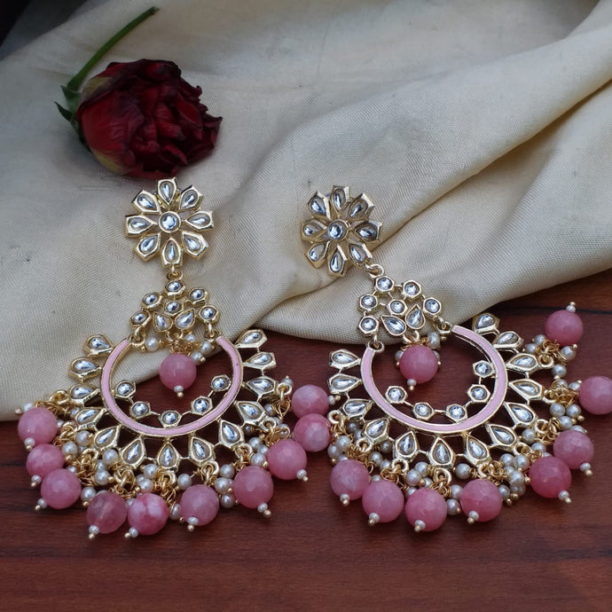Buy Kundan Pastel pink Chandbali Indian Party Eleyna Earrings: Perfect Panache