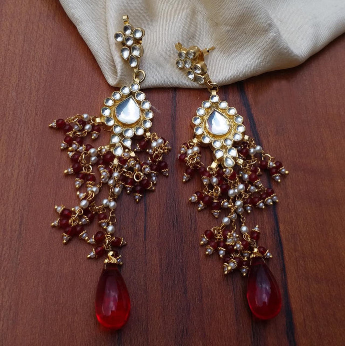 Buy Kundan stone Indian Party Elsa Earrings: Perfect Panache