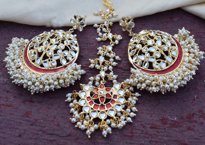Buy Clustered white pearls Indian Party Emma Earrings: Perfect Panache
