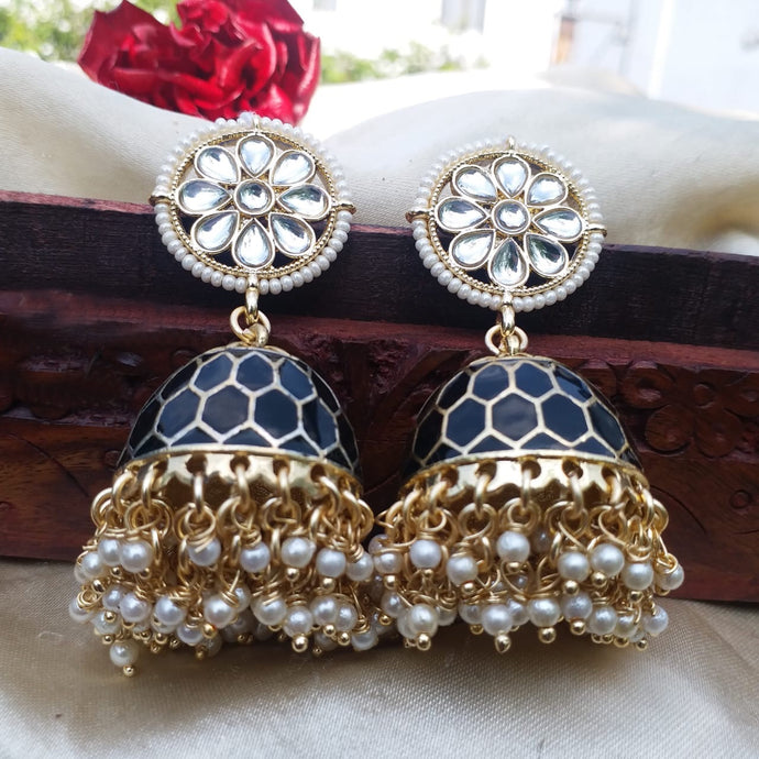 Buy Dark Blue Enamel jhumki Indian Party Eshita Earrings: Perfect Panache