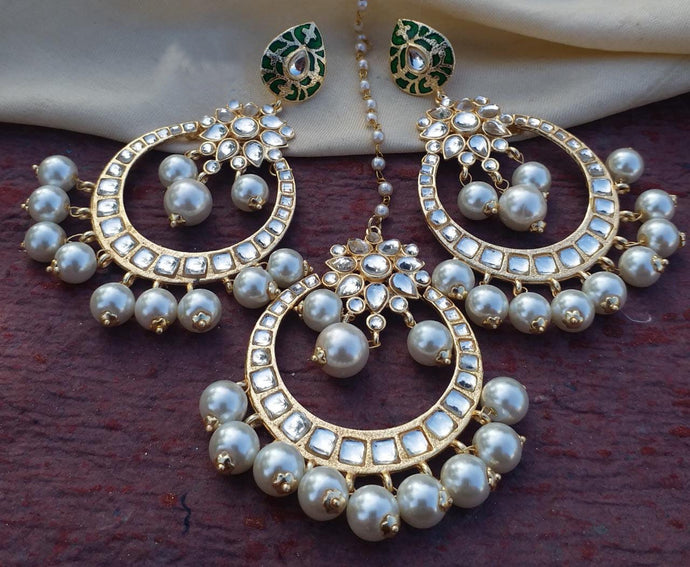 Buy Kundan pearl Chandbali Indian Party Eva Earrings: Perfect Panache