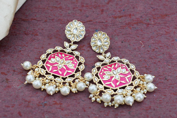 Buy Hot pink Enamel with pearls Indian Party Geeta Earrings: Perfect Panache