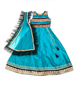 Girls Blue Lehenga Teal With Black Frill On Dupatta