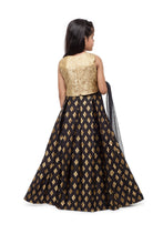 Load image into Gallery viewer, Girls Gold And Black Lehenga