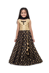 Girls Gold And Black Lehenga