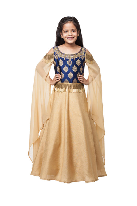 Girls Gold And Blue Gown With Embroidery In Dabka And Tasseled Beads