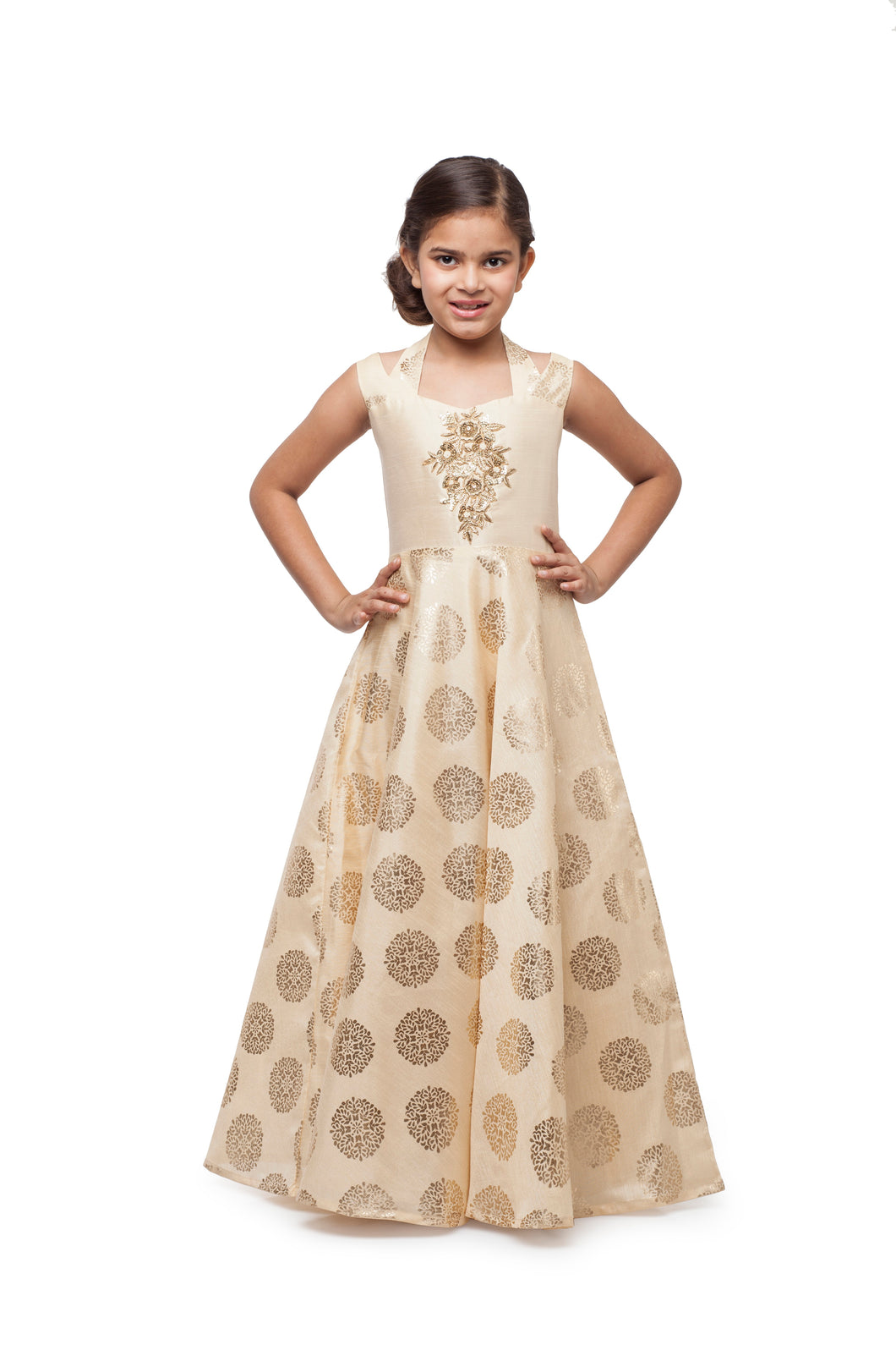 Girls Gold Evening Gown