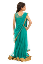 Load image into Gallery viewer, Girls Green Draped Gown