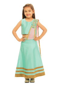 Girls Green Draped Lehenga With Dupatta