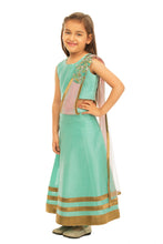 Load image into Gallery viewer, Girls Green Draped Lehenga With Dupatta