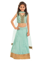 Load image into Gallery viewer, Girls Green Mint Zardozi Lehenga