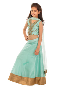 Girls Green Mint Zardozi Lehenga