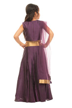 Load image into Gallery viewer, Girls Purple Lehenga With Mirror Work